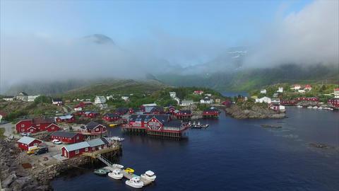 Red houses on Lofoten islands in Norway Footage