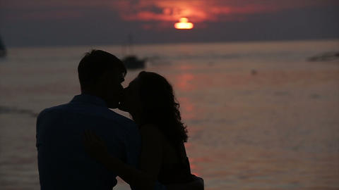 Lovers at sunset Footage