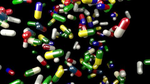 Pills drugs capsules falling slow motion closeup DOF 4K Footage