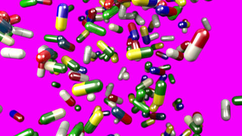 Pills drugs capsules falling slow motion closeup DOF 4K Footage