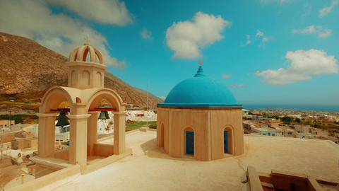 Panoramic Shot Of Cycladic Blue Dome Churches stock footage