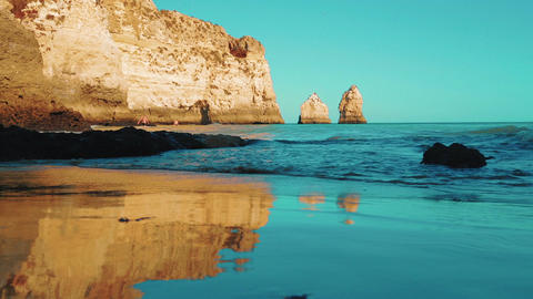 Low Angle Beach Cliff Shore Shot in the Algarve, Portugal Footage
