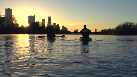 Kayaking on a river at Sunrise Footage