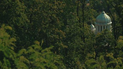 Orthodox White Church in the Woods of Brasov, Transylvania, Romania Footage