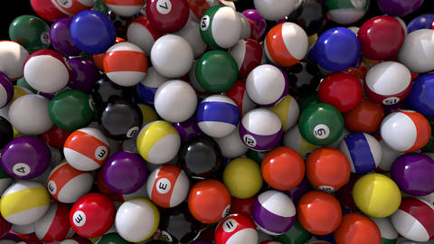 Pool billiards balls fill screen transition composite overlay 4K Footage