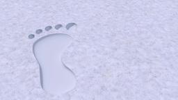 Foot prints footprints bare barefoot feet in snow 4k Footage