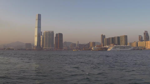 Ferry ride in Victoria Harbour in Hong Kong Footage