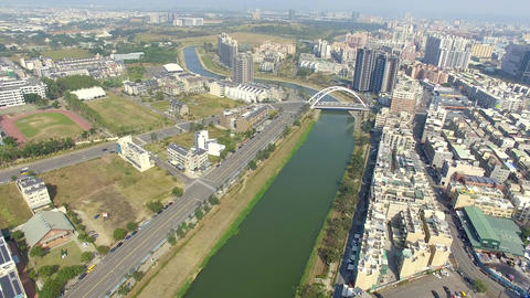 Aerial view of Houjin River ,kaohsiung city at taiwan Footage