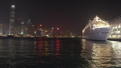 Night view of Victoria Harbour in Hong Kong Stock Video Footage