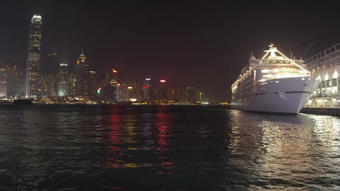 Night view of Victoria Harbour in Hong Kong Footage