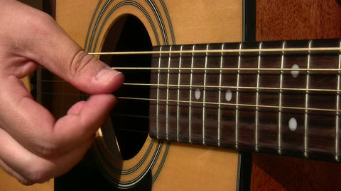 Acoustic guitar playing Footage