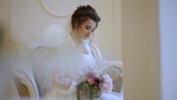Portrait of bride with bouquet Footage