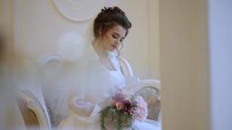 Portrait of bride with bouquet Footage