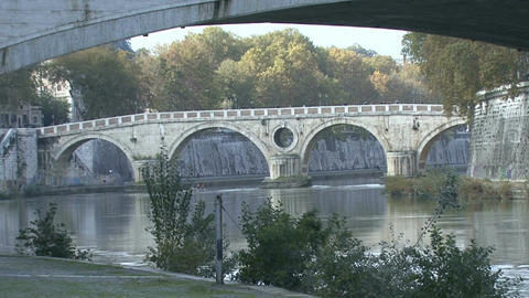 The Bridges over River Tiber in Rome, camera moving Footage