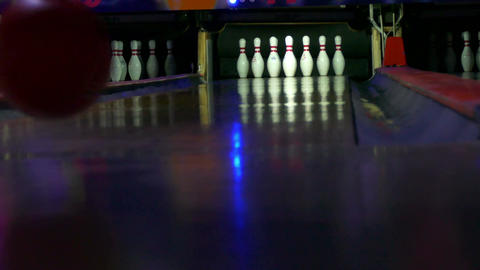 Bowling down a few pins Footage