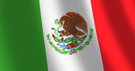 Flag Mexico moving wind Animation
