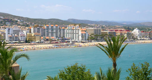 Panoramic Skyline View Of Peniscola City Beach Resort At Mediterranean Sea Live Action