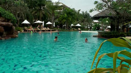 Thailand Pattaya 008 ravindra beach resort, swimming pool and bar Footage