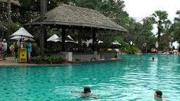 Thailand Pattaya 013 ravindra beach resort, pool bar in the water Footage