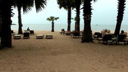 Thailand Pattaya 036 ravindra beach resort, end of day at sand area Footage