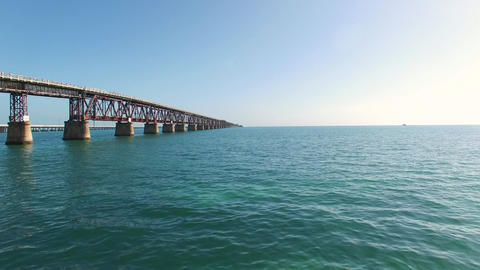 Aerial Over Florida Keys Near Bahia Honda Rail Bridge, 4K Footage