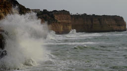 Powerful waves splashing at the cliffs Footage