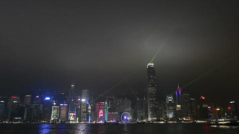 the laser show in Hong Kong island at night Stock Video Footage