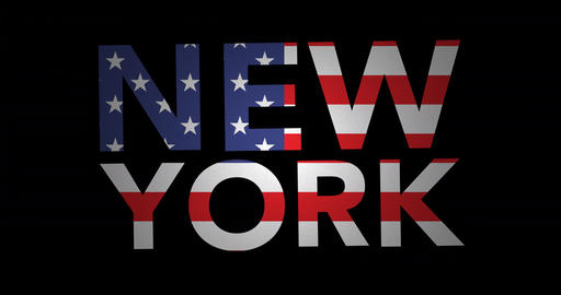 Zooming text New York with flag Animation