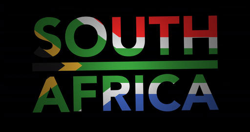 Zooming text South Africa with flag Animation