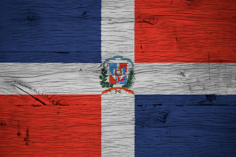 Dominican Republic national flag coat arms painted old oak wood Foto