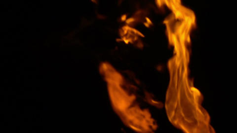 Fire flame slow motion isolated on black background Footage