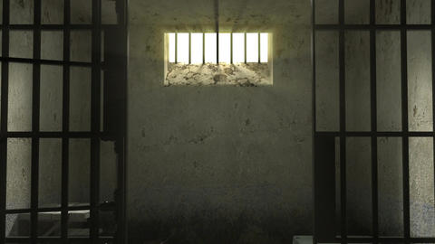 Closing in prison. Single cell on a black background Footage