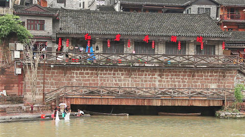 Fenghuang China Historical Downtown Footage
