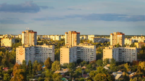 Buildings tilt shift focus in Chernihiv city, Ukraine Footage