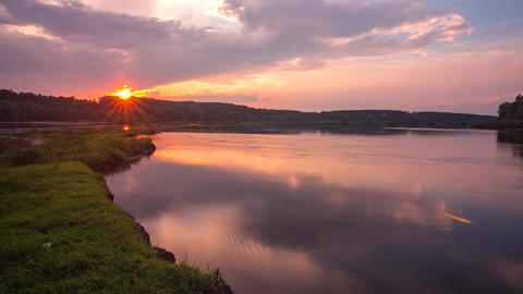Landscape time lapse of beautiful sunset sky over Desna river in Ukraine Footage