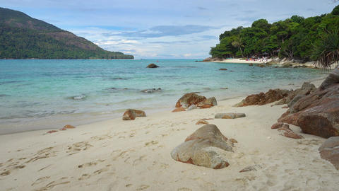 Beach and rocks on Koh Lipe island,Thailand Footage