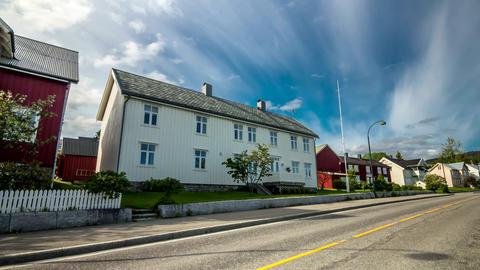 Hyperlapse from street in Norway. (Leksvik). 4k time lapse footage Footage