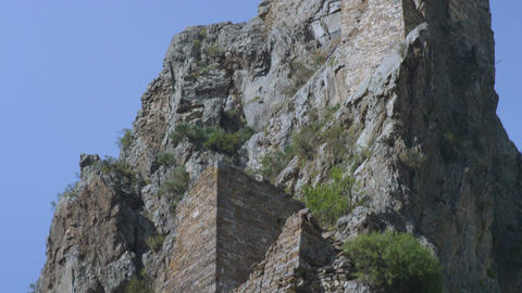 Panorama of Old Stone Medieval Tower on High Rock Footage