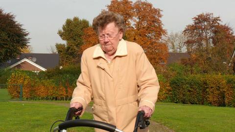 11816 pensioner wheel walker autumn park walk through camera Footage