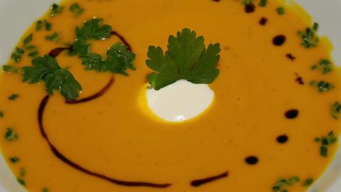 11852 gourmet pumpkin cream soup rotating close Live Action