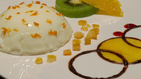 11853 gourmet vanilla orange dessert close Footage