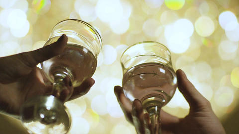 Slow Motion Two Human Hands Clink Wine Glasses Footage