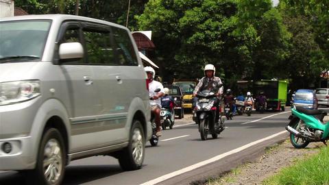 Street traffic on Bali Footage