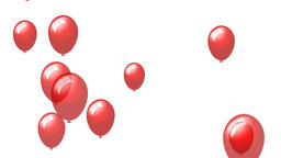 Red heart balloons on a white background Animation