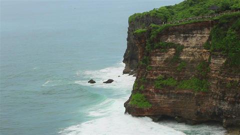 Ocean waves over high cliffs Footage