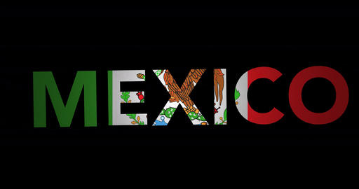 Zooming text Mexico with flag Animation