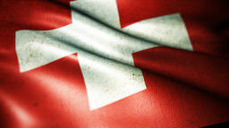 Beautiful flag of the Swiss waving in the wind Footage