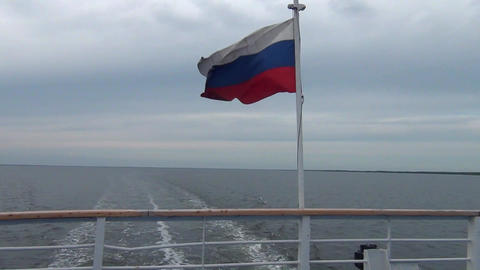 Russian flag on a ship Archivo