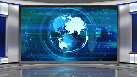 HD News-02 TV Virtual Studio Green Screen Background Blue Colour with Globe Animation