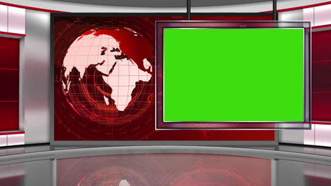 HD News-05 TV Virtual Studio Green Screen Background Red with Globe & monitor Animation